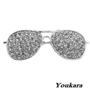 Youkara Personality Playing Cool Small Sunglasses Silver Metal Diamonds Brooch Pin Brooches For Women Girls Jewellery