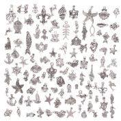 JuanYa Wholesale 100 Pieces Mixed Sea Animals Charms Pendants DIY for Jewellery Making and Crafting