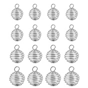 20 Pieces Silver Plated Bead Cages Spiral Cage Pendants for DIY Jewellery Making, 4 Sizes