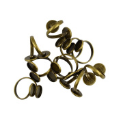 Sharplace 10pcs Antique Bronze Brass Finger Ring Findings Pad Ring Bases for Cabochons