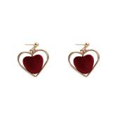 Wicemoon Vintage Wine Red Heart Hollow Heart-Shaped Earrings Jewellery for Women Girl