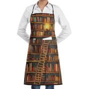 Unisex Kitchen Aprons Vintage Library Bookshelf Chef Apron Cooking Apron Barbecue Aprons