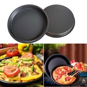 Kitchen Ware LLC New Popular Pastry Tools 20cm Round Pizza Pan Tray Carbon Steel Non-stick Oven Pizza Plate Pan Cozinha Kitchen Tools