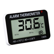 WinnerEco Large LCD Display Alarm Refrigerator Mount Thermometer with Magnetic Back