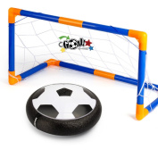 Hover Ball Soccer Goal Set, Indoor & Outdoor Sports Game Play Hover Football Gate Foam Bumpers Colourful LED Lights Up Air Power Training Ball Soccer Disc With Portable Goal for Kids Toys Gifts
