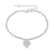 CHIC*MALL Ankle Bracelets Women Lady Crystal Rhinestone Love Heart Sterling Silver Anklet Ankle Bracelet Chain Jewellery