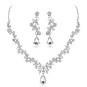 Bluelans Women Fashion Rhinestone Teardrop Pendant Necklace Dangle Earrings Jewellery Set