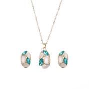 Bluelans Fashion Women Jewellery Set Oval Opal Drop Pendant Sweater Chain Necklace Earrings