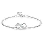 LDUDU® Women Jewellery Bracelet Silver-Tone 925 Sterling Silver with Infinity Endless Love Symbol Charm Anklet Bracelet Bridal Wedding Chain, Adjustable 16-19.5cm