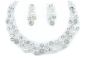 White Shell Pearl Clear Shamballa Necklace Clip on Earrings Sets Bride Wedding