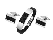 CUFF IT Jewellery Set Mens Bracelet and Cufflinks Set, Stainless Steel Silicone Bracelet Wristband with Fold-Over Clasp
