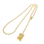 MCSAYS Hip Hop Jewellery Stainless Steel Rosaries Black Eye Jesus Pendant Gold Colour Bead Chain Charm Necklace Fashion Accessories For Men/Women Gifts