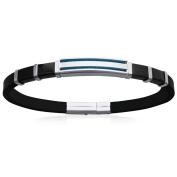 Silver Steel and Black Rubber Bracelet – 21 cm, Blue – Mens