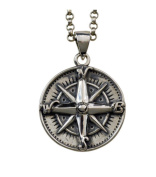 XYLUCKY Men's Personality 925 Sterling Silver Necklace / Vintage Compass Pendant Clavicle Chain