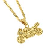MCSAYS Hip Hop Necklace Gold-colour Mini Motorcycle Pendant 18k Gold Plated Copper Cuban Chain Cool Punk Necklace Mens Fashion