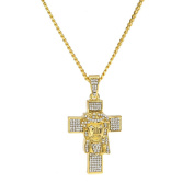 MCSAYS Hip Hop Jewellery Full Crystal Bling Jesus Face Cross Pendant CZ Iced Out Cuban Chain Religious Christian Necklace Fashion Accessories For Men/Women Gifts