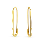Bling Jewellery Gold Plated .925 Silver Safety Pin Threader Earrings