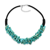 Bling Jewellery Synthetic Turquoise Chip Faux Leather Boho Necklace