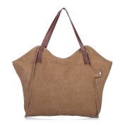 Mufly Women's Vintage Canvas Tote Bags Casual Handbags Canvas Top-Handle Bag for Beach Travel