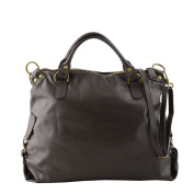 Made In Italy Genuine Leather Woman Handbag With Removable Shoulder Strap Colour Dark Brown Tuscan Leather - Woman Bag