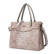 Kadell Ladies Top Handle Tote Bag for Women Crocodile Embossed Purses and Handbags Beige