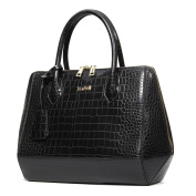 Kadell Women Crocodile Grain PU Leather Handbags Shoulder Bag Tote Purse Shell Bag Black
