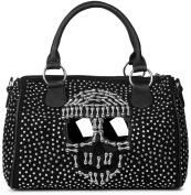 styleBREAKER Bowling Bag Handbag with Skull and Sunglass appliqué, rhinestone studded handbag, women's 02012027