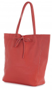 LiaTalia Genuine Italian Soft Leather Leightweight Large Hobo Shopper Shoulder bag with Protective Dust Bag - Astrid [Coral Red]
