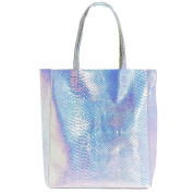Holographic PU Leather Shopper Oversized Tote Handbag Serpentine Shoulder Bag, Silver