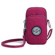 Multifunctional Phone Pouch Bag Purse Sports 3 Layers Zipper Waterproof Nylon Crossbody Wrist Shoulder Bag