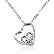 """Pendant Necklace for Women, KEERADS 925 Sterling Silver """"Double Hearts"""" Gift for Women"""