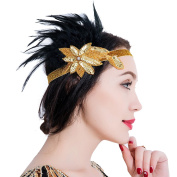 Flapper Headband 1920s Vintage Sparkling Headband Great Gatsby Feather Beaded Headpiece Fancy Dress for Prom Party