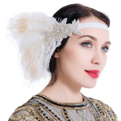 1920s Flapper Headband Peacock Feather Great Gatsby Headband Vintage Headpiece Accessories for Prom Party White