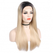 Arimika Straight Ombre Blonde Heat Safe Synthetic Hair Lace Front Wig With Short Dark Brown Roots