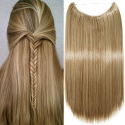 50cm Wire in Hair Extensions One Piece Extensions Straight Hair Piece Long for Women Beauty, Light brown mix Ash blonde
