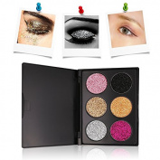 Glitter Eyeshadow Palette, TOFAR 6 Colours Pressed Glitter Powder Eye Shadow Pallet Sparkling Metallic Shimmer Glitter Cream Palette Highly Pigmented and Long Lasting Mineral Cosmetic Makeup Kit - #1