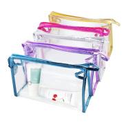 Meetory 5 Pcs Transparent Waterproof Cosmetic Bag,PVC Vinyl Zippered Wash Bag Vacation, Bathroom and Organising Bag Travel Set