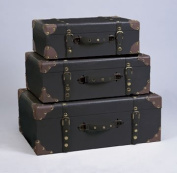 Set of Three Decorative Storage Suitcase Trunks