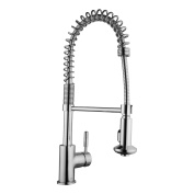 Keewi Kitchen Coil Faucet Chrome, Commercial Kitchen Faucet Pull-Down Spray Faucet, made with solid Brass Body and Ceramic Disc Cartridge for Durability and Longevity