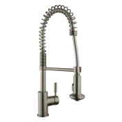 Keewi Kitchen Faucet Brushed Nickel, Commercial Kitchen Faucet with Pull Down Sprayer, made with Solid Brass Body and Ceramic Disc Cartridge, met all US Standard