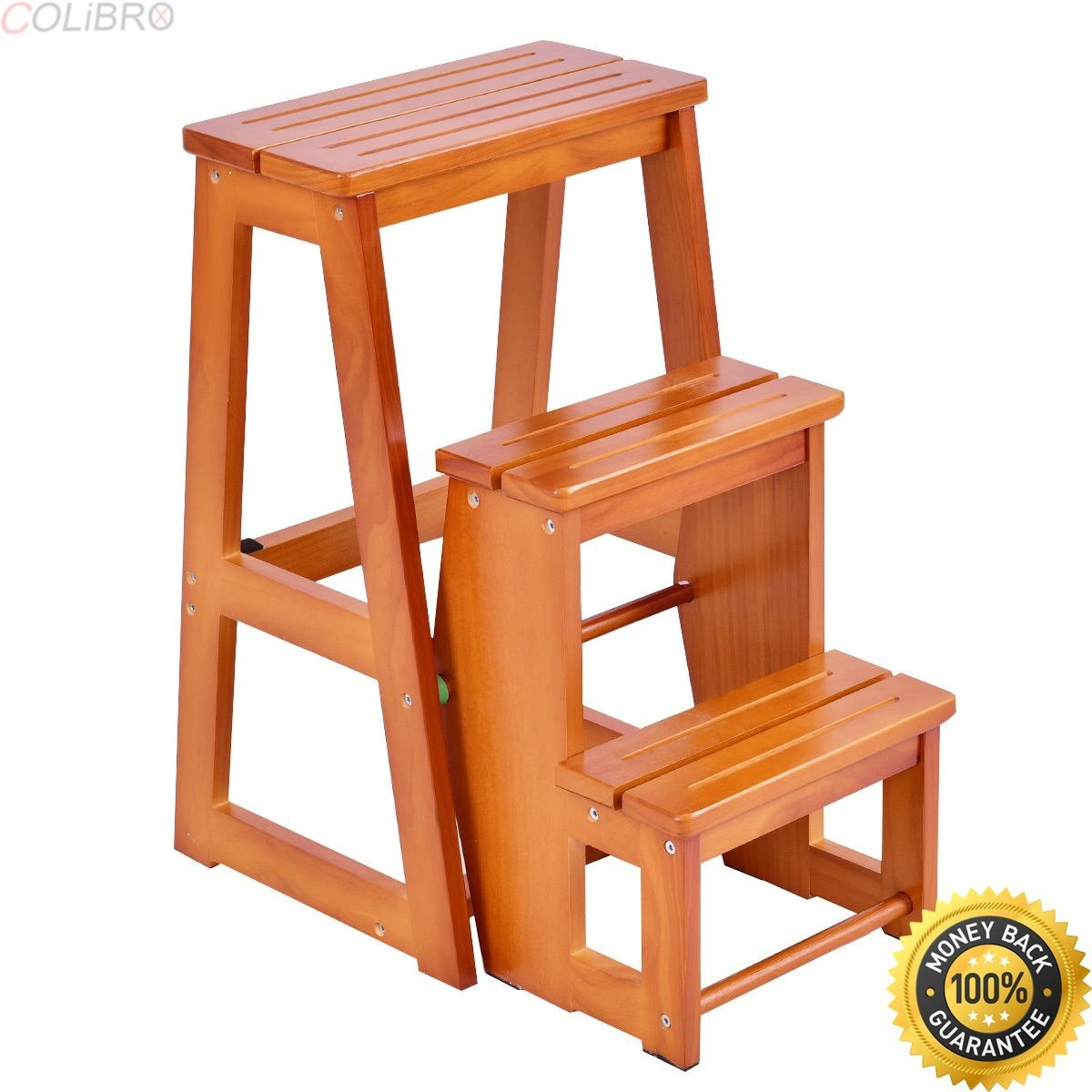 Colibrox wood step stool folding 3 tier ladder chair bench seat utility multi functional chair bench for sale wooden step stools for the kitchen