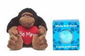 Cute Valentine Be Mine Brown Gorilla Holding Red Heart and Mind of His Own Bath Fizzer