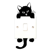 Wokee Creative New Cute Cat Wall Stickers Light Switch Decor Decals Art Mural Baby Nursery Room
