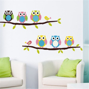Nuohuilekeji Cartoon Children's Home Room Bedroom Decorative Cute Owl Animal Wall Sticker