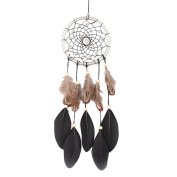 Merssavo Traditional Handmade Dream Catcher with Feathers Wall or Car Hanging Decors -Beige