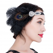 1920s Flapper Headband Peacock Feather Great Gatsby Headband Vintage Art Deco Accessories for Prom Party
