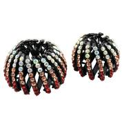 Baoblaze 2Pcs Rhinestone Scunci Effortless Beauty Expandable Ponytailer Bun Holder Ponytail Clip Grip Claw Hairpin
