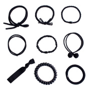 CHUANGLI 9PCS Hair Ties Set Elastic Tie Bands Ponytail Holder Headband Scrunchie Hair Accessories