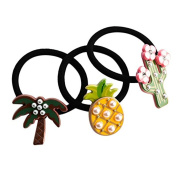 Vikenner 3 Pcs Fruit Elastic Rubber Band Lovely Ponytail Holder Beautiful Hair Rope Hair Ring Hair Accessories for Baby Girls - Pineapple/Cactus/Coconut