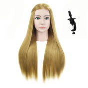 70cm - 70cm Mannequin Head For Hairdresser Manikin Hairdressing Dummy Doll Heads Synthetic Hair Styling Training Head With Free Table Clamp